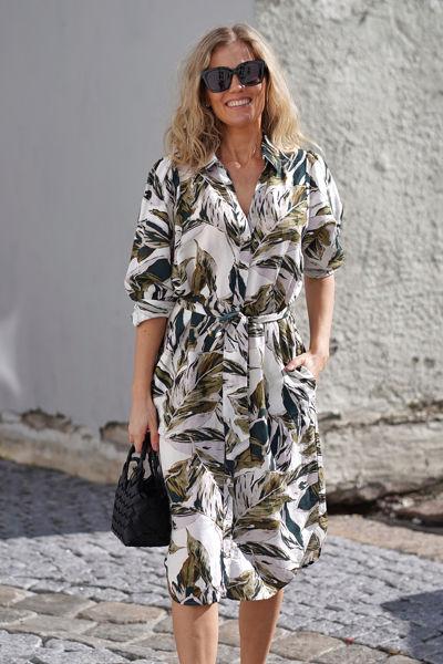 Ibeth Dress Green Palm Print