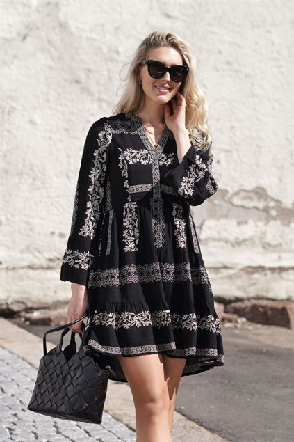 Maya Short Embroidered Rayon Dress Sort