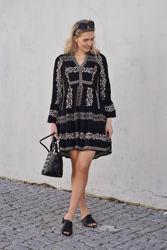 Maya Short Embroidered Rayon Dress Sort