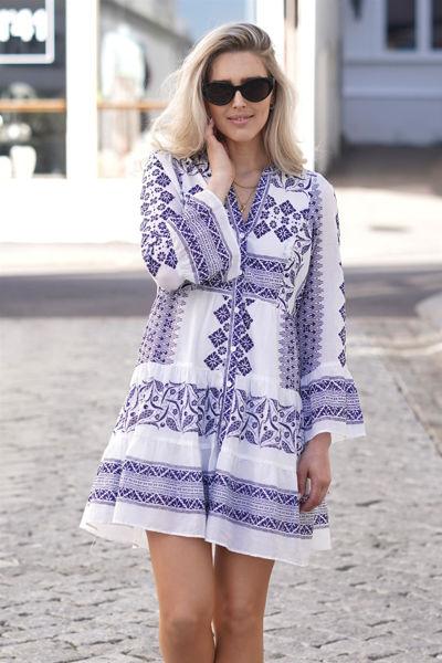Bonnie Short Cotton Voile Dress Marineblå