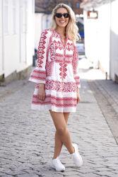 Bonnie Short Cotton Voile Dress Rød