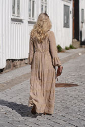 Tixi Long Embroidery Dress Sand