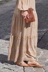 Tixi Long Embroidery Dress Sand