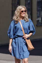 Clarisa Puff Sleeve Top Jeansblå
