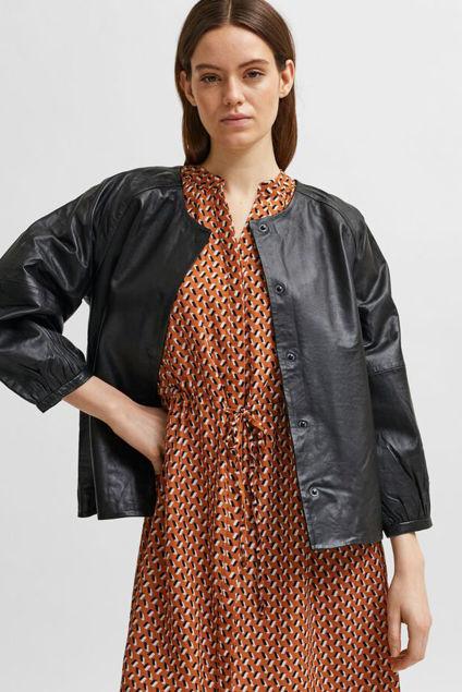 Vera O-Neck Leather Jacket Sort
