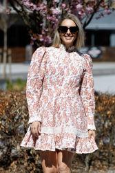 Linen button down dress White paisley