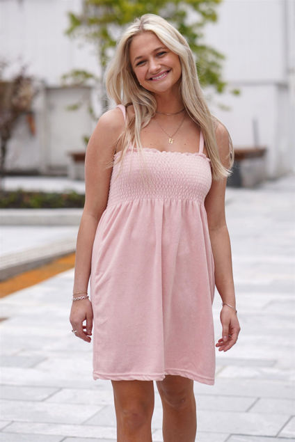 Smock Towelling Dress Pale Pink