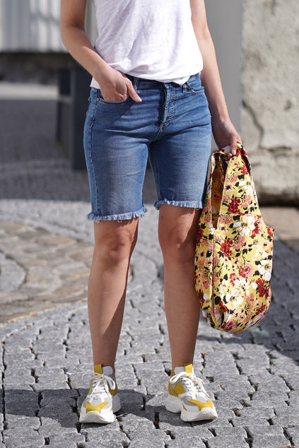 Girlfriend Shorts London Jeansblå