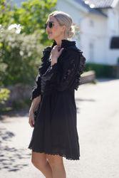 Cotton slub shift dress Sort