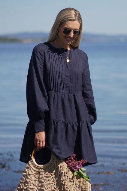 Aria Linen Dress Navy