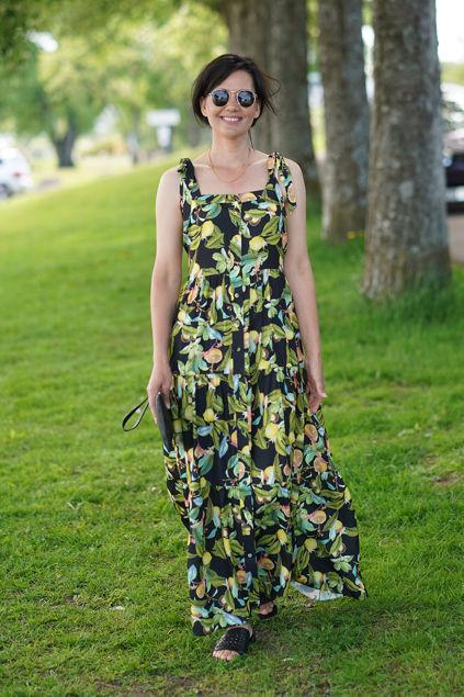 Milli Ties At Shoulder Dress Sort/grønn/gul