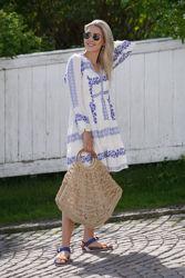 Miriam Short Embroidered Dress Blå