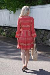 Miriam Short Embroidered Dress Korall