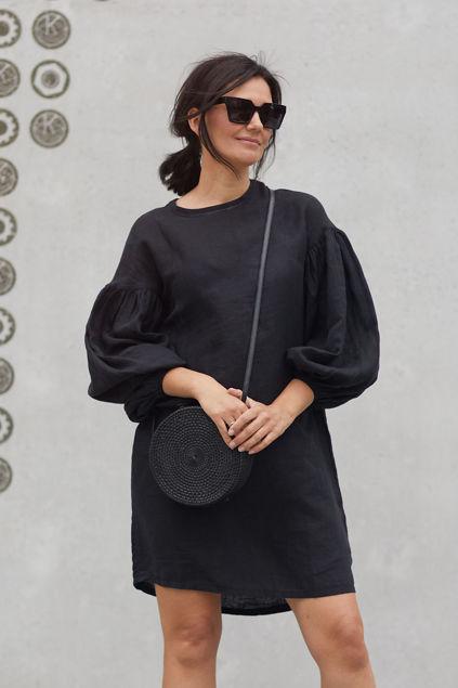 Kara linen dress Sort