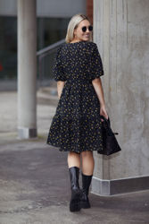 Avery short dress Tulip black and ye