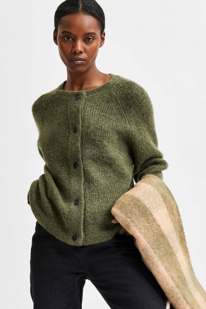 Lulu Knit Short Cardigan Kalamata melange