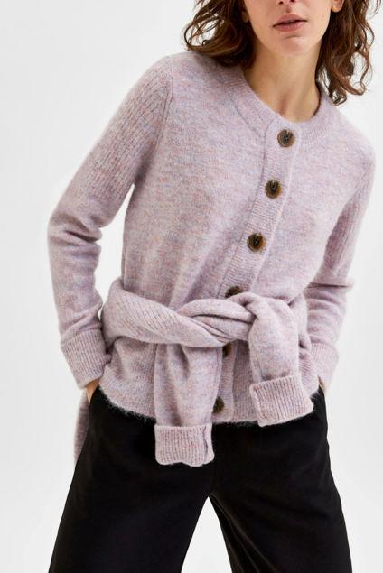 Sia LS Knit Cardigan Chalk Pink Melange