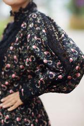 Cotton Slub Mini Dress Sortblomstret