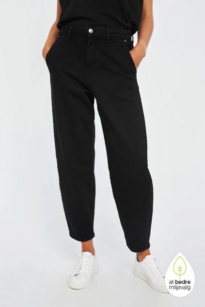 Alba Momfit Black Jeans Sort