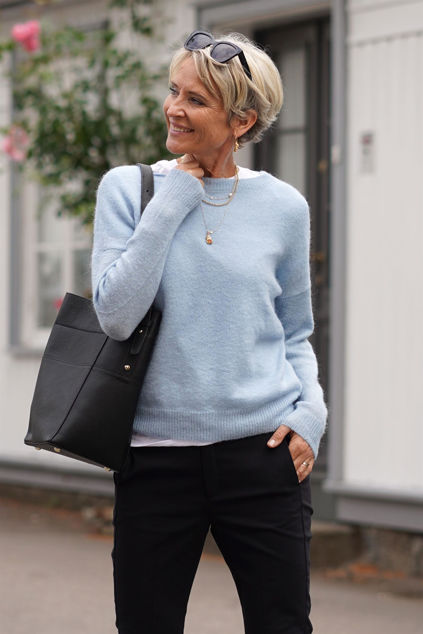 Femme Mohair O Pullover Lyseblå