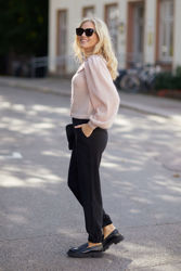 Mohair knit collar cardigan Pink