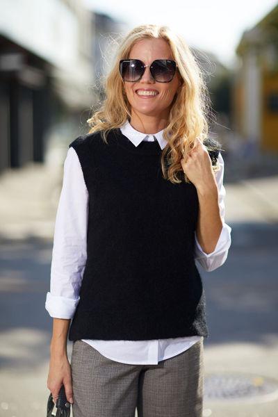 Lulu Knit Vest O-Neck Sort