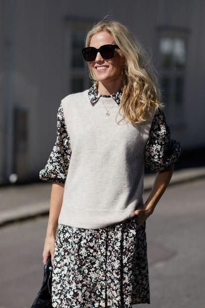 Lulu Knit Vest O-Neck Birch Melange