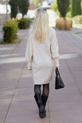 Lulu LS Knit Dress O-Neck Birch Melange