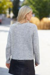 Lulu Knit Short Cardigan Lys grå melert