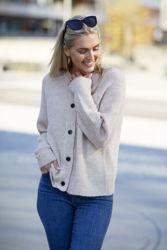 Lulu Knit Short Cardigan Birch Melange