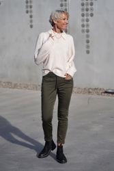Sia-Louisa LS Knit Polo Off-white