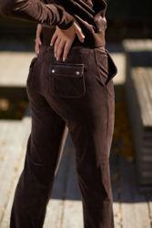 Del Ray Classic Velour Pant Pocket Design Java