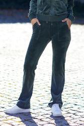 Del Ray Classic Velour Pant Pocket Design Dark Moss