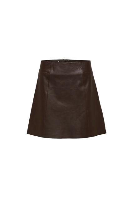 Ibi Leather Skirt Coffee Bean