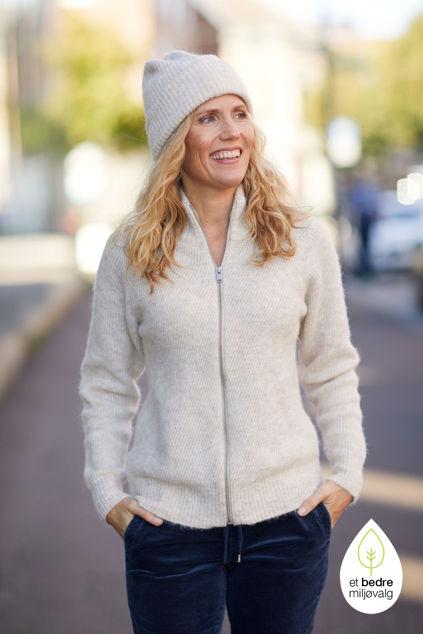 Linna-Mia LS Knit Highneck Cardigan Sandshell Melange