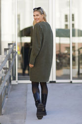 Linna-Mia LS Knit O-Neck Dress Kalamata melange