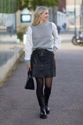 Mika Leather Skirt Sort