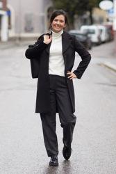 Mercy HW Tapered Wool Pant Mørk gråmelert