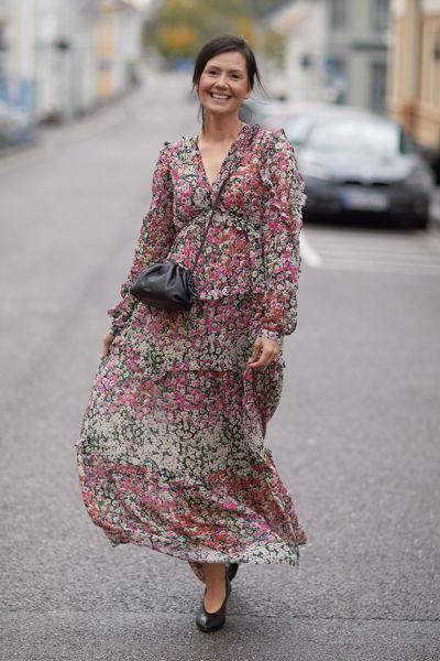 Nora Long Dress Rosa Blomstret