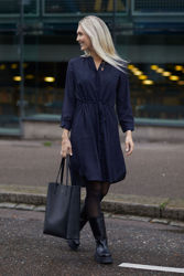Damina 7/8 Aop Dress Mørk blå m/print