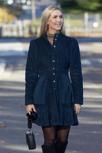 Corduroy Mini Dress Marineblå
