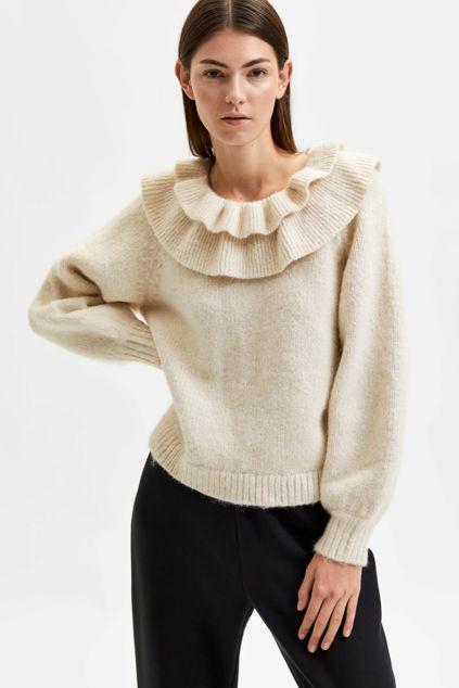 Rosalie LS Collar Knit O-Neck Sandshell